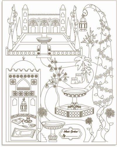 画像1: イスラミックガーデン塗り絵ポスター Islamic Gardens Colour in poster